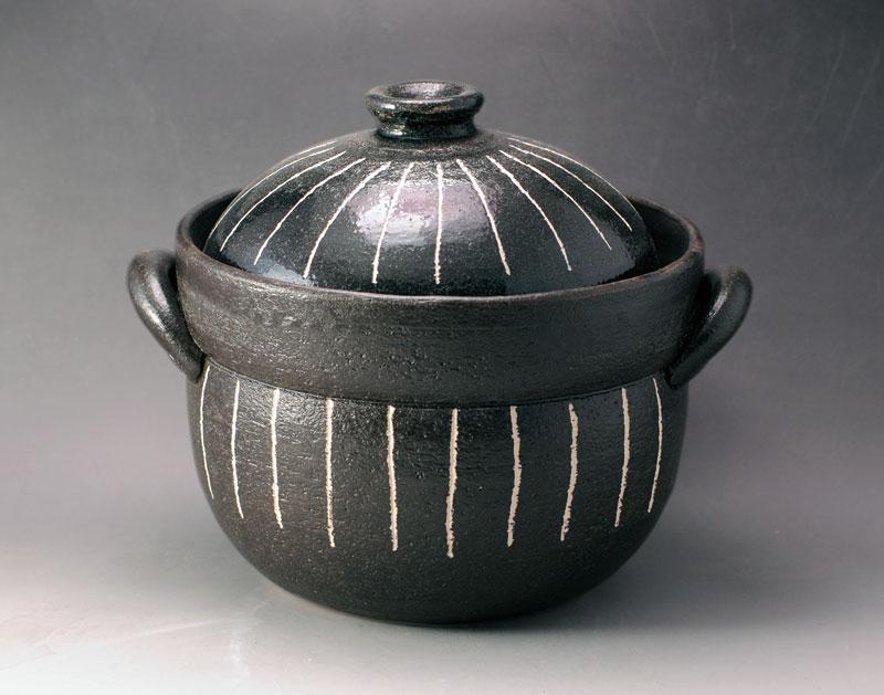 ごはん鍋 ご飯鍋 土鍋 黒十草 炊飯鍋 二重蓋 (2合炊)