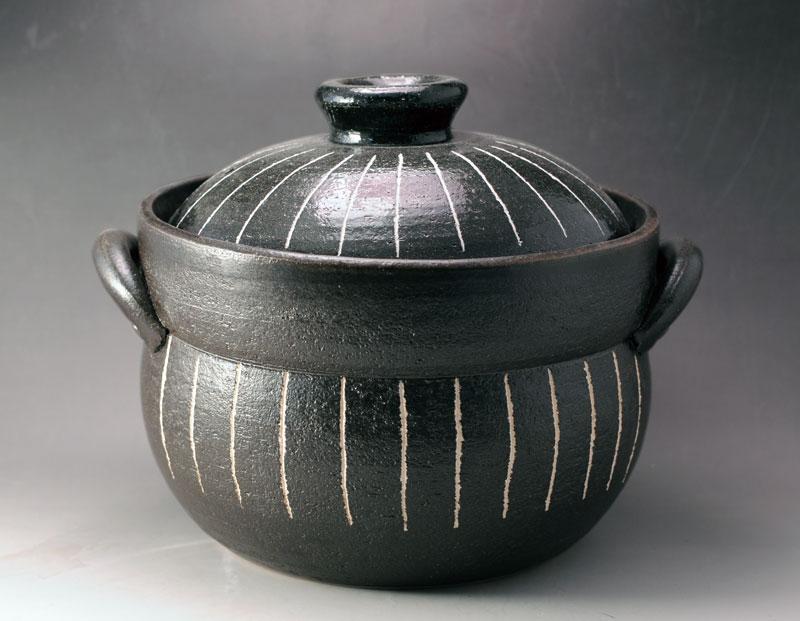 ごはん鍋 ご飯鍋 土鍋 黒十草 炊飯鍋 二重蓋 (4合炊)