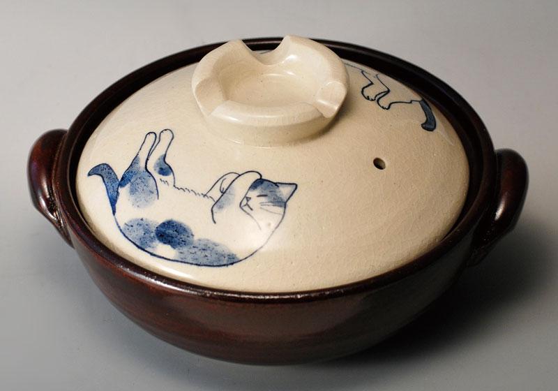 猫 ネコ 直火鍋 ねこ 8号土鍋