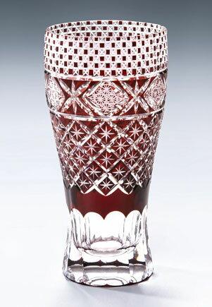 切子 ガラス ビールグラス モダン切子 ロングビアグラス メテオB レッド ビールグラス