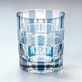 モダン切子 刺子市松 ブルー ロックグラス