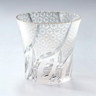 モダン切子 刺子ウェーブ ホワイト ロックグラス