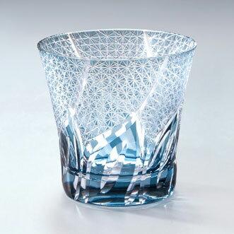 モダン切子 刺子ウェーブ ブルー ロックグラス