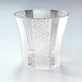 モダン切子 刺子ストライプ ホワイト ロックグラス