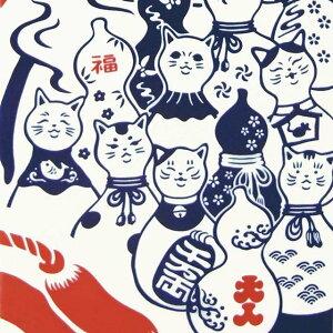 【注染手ぬぐい 縁起】『瓢箪猫と富士山』 kenema 【追跡可能メール便送料無料!】【 お正月 日本製 ねこ ネコ ひょうたん 縁起 手拭い てぬぐい タペストリー 壁飾り インテリア 猫 雑貨 グッ