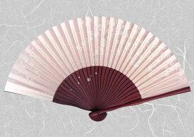 紙扇子 『こぼれ絵・桜 ( ピンク ) 』【ゆうパケット送料無料!※宅配便を選択時は送料がかかります。(ご注文後にこちらで追加します。)】【 扇子 和柄 紙扇子 植物柄 花柄 女性用 レディス 婦人 ピンク さくら サクラ 】