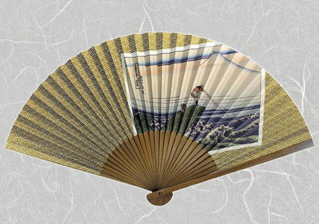 紙扇子 『 北斎 ( 甲州石班澤 ) 』【ゆうパケット送料無料!※宅配便を選択時は送料がかかります。(ご注文後にこちらで追加します。)】