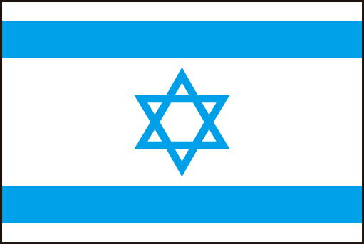 21cm ミニ・黒ポール・国旗 イスラエル国(State of Israel )・National flag【応援グッズ】