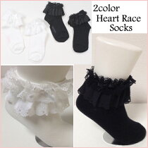 ハートレース&リボンソックス靴下