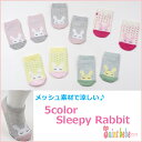 【1足販売】5color メッシュ素材で涼しい キッズ Sleepyラビット柄ショートソックス 靴下