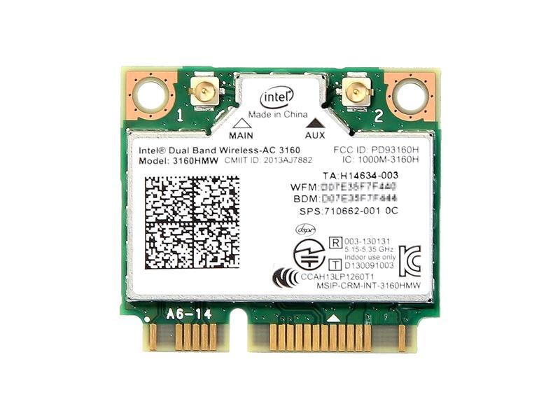 インテル Intel Dual Band Wireless-AC 3160 デュアルバンド 2.4/5GHz 802.11ac 最大433Mbps + Bluetooth 4.0 PCIe Mini half 無線LANカード 3160HMW