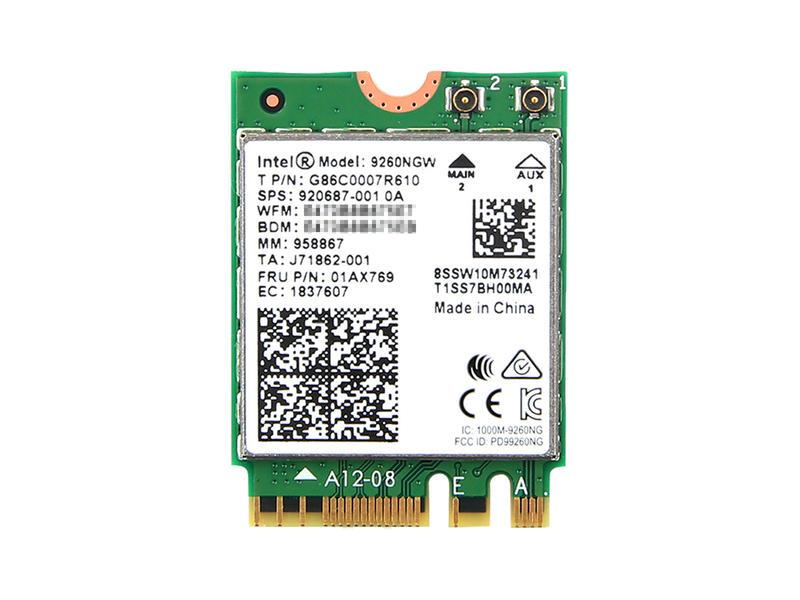 インテル Intel Wireless-AC 9260 5GHz/2.4GHz 802.11ac MU-MIMO 1.73Gbps Wi-Fi + Bluetooth 5 Combo M.2 無線LANカード 9260NGW
