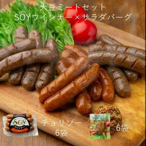 【詰め合わせ12袋セット】SOYウインナー6袋(チョリソー×6)+サラダバーグ6袋 ダイエット中の方におすすめ食品! 代替肉 大豆ミート 蒟蒻 低カロリー 低糖質 ヘルシー