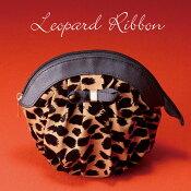 【化粧ポーチ】丸型・LeopardRibbonレオパード・ラウンドボトムオープンコスメポーチ