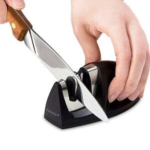 【送料無料】包丁研ぎ器 シャープナー 改良版 ステンレス鋼 ダイアモンドコーティング 2段階シャープニングシステム 粗研ぎ 細研ぎ 急速に研ぐ 切れ味向上 キッチン 台所 調理 はさみ研ぎ