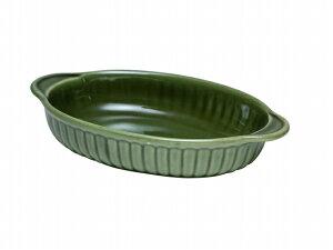 楕円グラタン (緑)【萬古焼 万古焼】 [食器 器 耐熱 ラザニア グラタン皿 洋食器 グリーン]