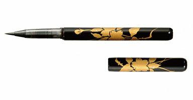 漆芸 天然竹 漆器 筆ペン 黒 桜 サクラ