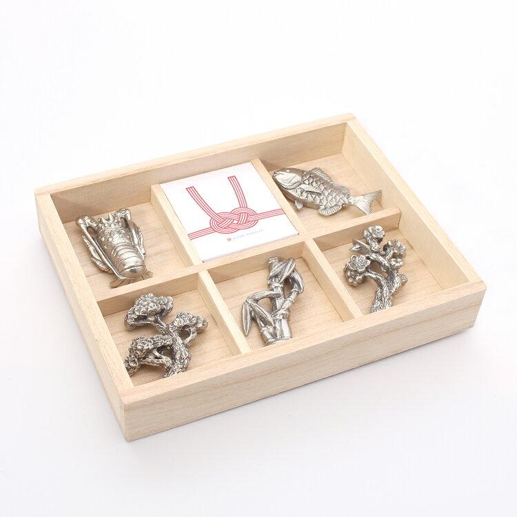 錫製 箸置き 祝づくし 5種セット 桐箱入り