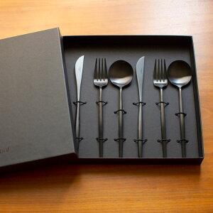 クーポン配布中!クチポール Cutipol GOAシリーズ マットブラックMOON ギフトセット 6ピース(ディナーナイフ、ディナーフォーク、テーブルスプーン各2本)