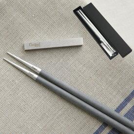 クチポール Cutipol GOAシリーズ グレイ&マットシルバー 箸と箸置きセット 化粧箱【メール便なら送料無料】