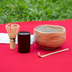 京都匙亀 岐阜県美濃焼 お抹茶碗 茶道具5点セット(抹茶茶碗、茶せん、茶杓、夏目、茶巾)