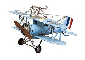 ヴィンテージカー ブリキおもちゃ アンティーク フランス機 戦闘機 飛行機 プロペラ air plane ブルー