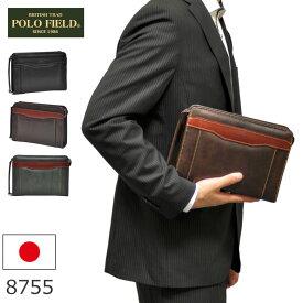 POLO FIELD セカンドバッグ メンズ ブラック 日本製 合皮 持ち手 8755 ギフト プレゼント メンズ・父の日・プレゼント