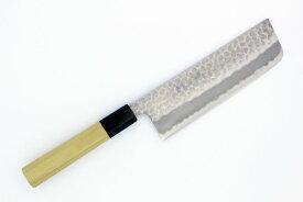 翁流 青紙スーパー ステンレス本割込 磨き 槌目 菜切 朴八角柄刃渡り 165mm【国産 日本製 和包丁 庖丁 ナイフ 牛刃 】