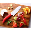 FKR-140W-RD-W X RD ceramic knife triple-purpose kitchen knife length of a blade 14cm red steering wheel X white blade JAN: 4960664857043