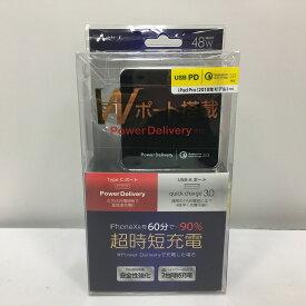 【中古】エアージェイ PD&QCマルチ急速充電器48W type-c + USB BK AKJ-PDQ48BK[jggZ]