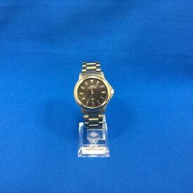 【中古】テクノス レディース腕時計 T8088 ソーラー チタン 黒文字盤 シルバー[jggW]