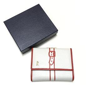 【中古】ロベルタ ディ カメリーノ がま口三つ折り財布 ホワイト RBK682 [jggZ]