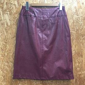【中古】レベッカテイラー レディース 膝丈スカート PUレザー ワインレッド 表記サイズ:2[jggI]