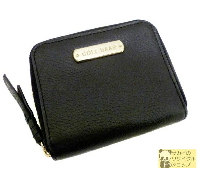 COLE HAAN コールハーン ラウンドファスナー財布 カードポケット付き札入れ レザー ブラック【中古】