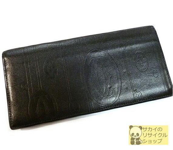 Cartier パシャドゥ 二つ折り長財布 カーフスキン ブラック【中古】