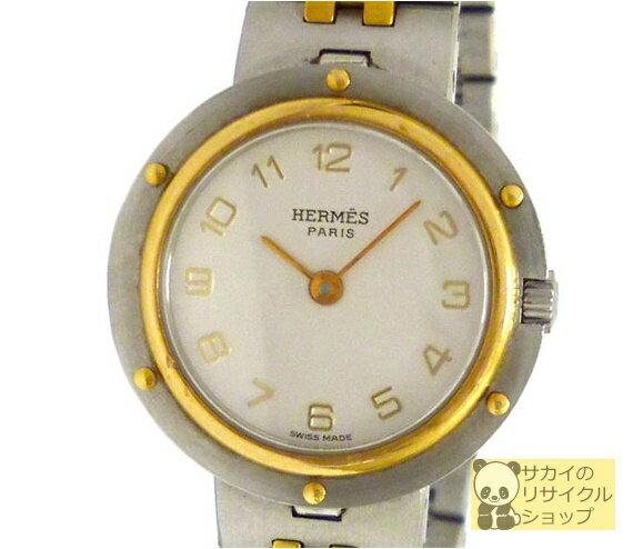エルメス HERMES レディース腕時計 クリッパー 旧型 SS×GP クオーツ オフホワイト文字盤【中古】