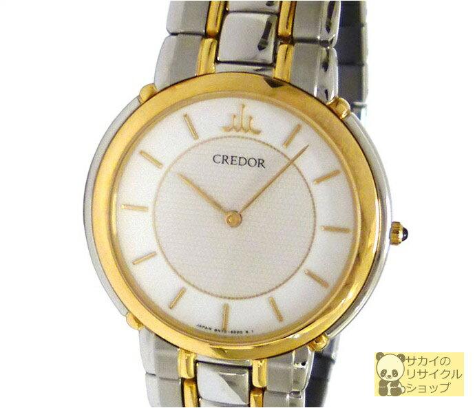 SEIKO セイコー CREDOR クレドール メンズ腕時計/ボーイズ腕時計 SS×18KT クオーツ オフホワイト文字盤【中古】