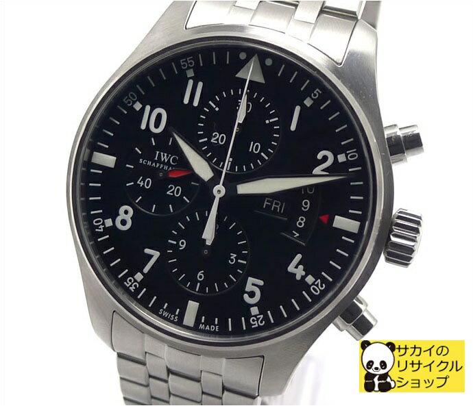 IWC インターナショナル・ウォッチ・カンパニー メンズ腕時計 パイロット クロノグラフ SS ブラック文字盤 自動巻き IW377704 【新品仕上げ済み】【送料無料】【メンズ】【Watch】【中古】