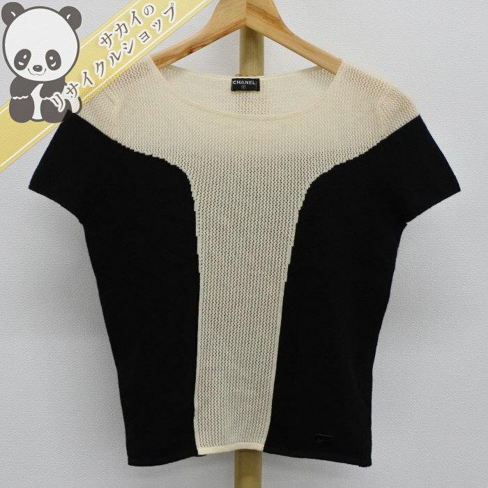 CHANEL シャネル 半袖 セーター ニット レディース カシミヤ100% トップス 【美品】【ladies】【Apparel】