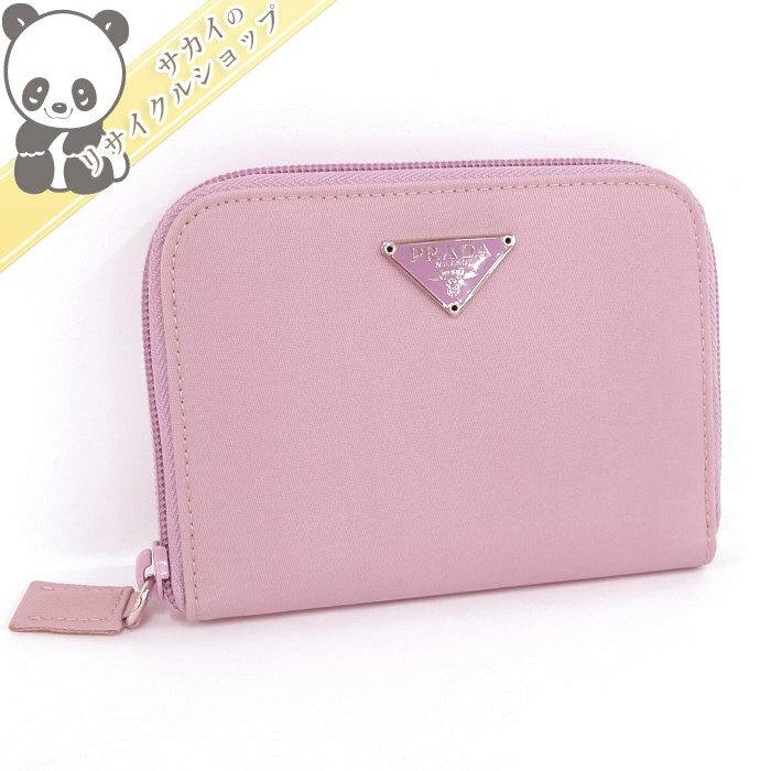 【中古】【新品同様】PRADA ラウンドファスナー財布 コンパクト財布 M606 ナイロン ピンク