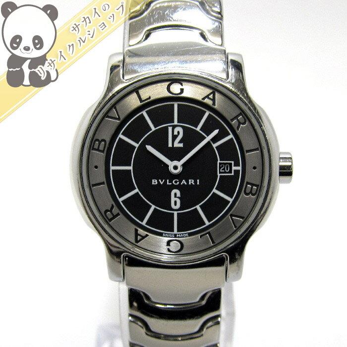 【中古】BVLGARI ソロテンポ レディース腕時計 デイト クオーツ 文字盤ブラック ST29S