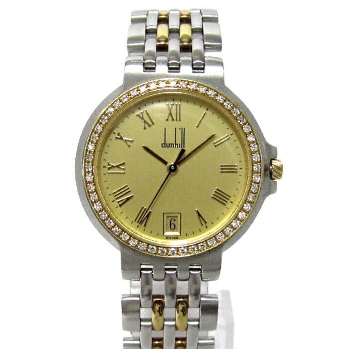 dunhill ダンヒル エリート メンズ腕時計 2ロウ ダイヤベゼル デイト クオーツ 文字盤ゴールド SS×YG 【メンズ】【watch】.【z80508*hmn】