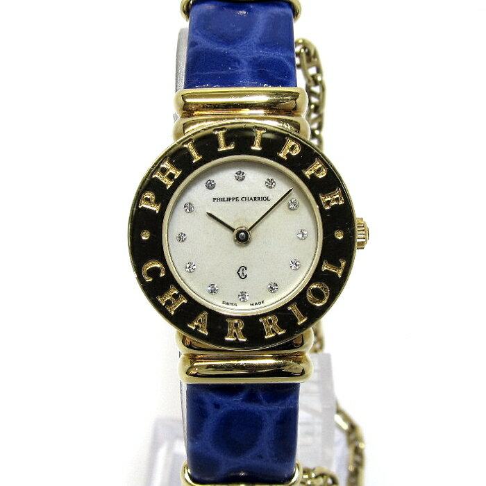 PHILIP CHARRIOL フィリップ シャリオール サントロペ レディース腕時計 GP レザーベルト クォーツ 文字盤シェル 7007901 【レディース】【watch】.【z80506*hmn】