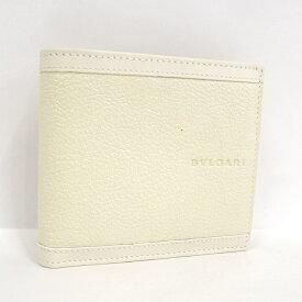 【中古】【未使用に近い】BVLGARI 二つ折り財布 レザー ホワイト系 25294