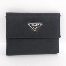 6abad780c522 中古 【中古】PRADA 二つ折り財布 ナイロン×レザー ブラック