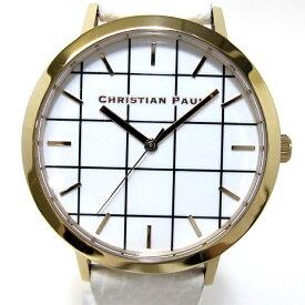 【中古】【未使用に近い】CHRISTIAN PAUL クリスチャン ポール メンズ腕時計 クオーツ SS レザーベルト 文字盤ホワイト グリッド 316L