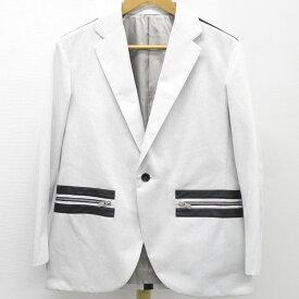 CoSTUME NATIONAL コスチュームナショナル メンズジャケット コットン×シンセティックレザー アイスグレー×ブラック 表記サイズ44 【未使用】
