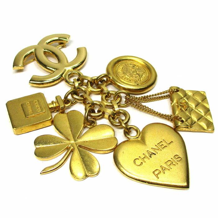 【中古】CHANEL アイコン ブローチ ゴールド GP ココマーク コイン チェーンバッグ クローバー ハート 香水 95A