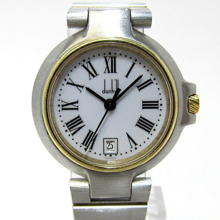 ダンヒル dunhill ミレニアム レディース腕時計 デイト SS クオーツ 文字盤ホワイト【中古】[iz]