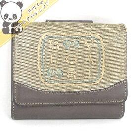 【中古】BVLGARI Wホック二つ折り財布 レオーニライン ベージュ/ブラウン キャンバス/レザー